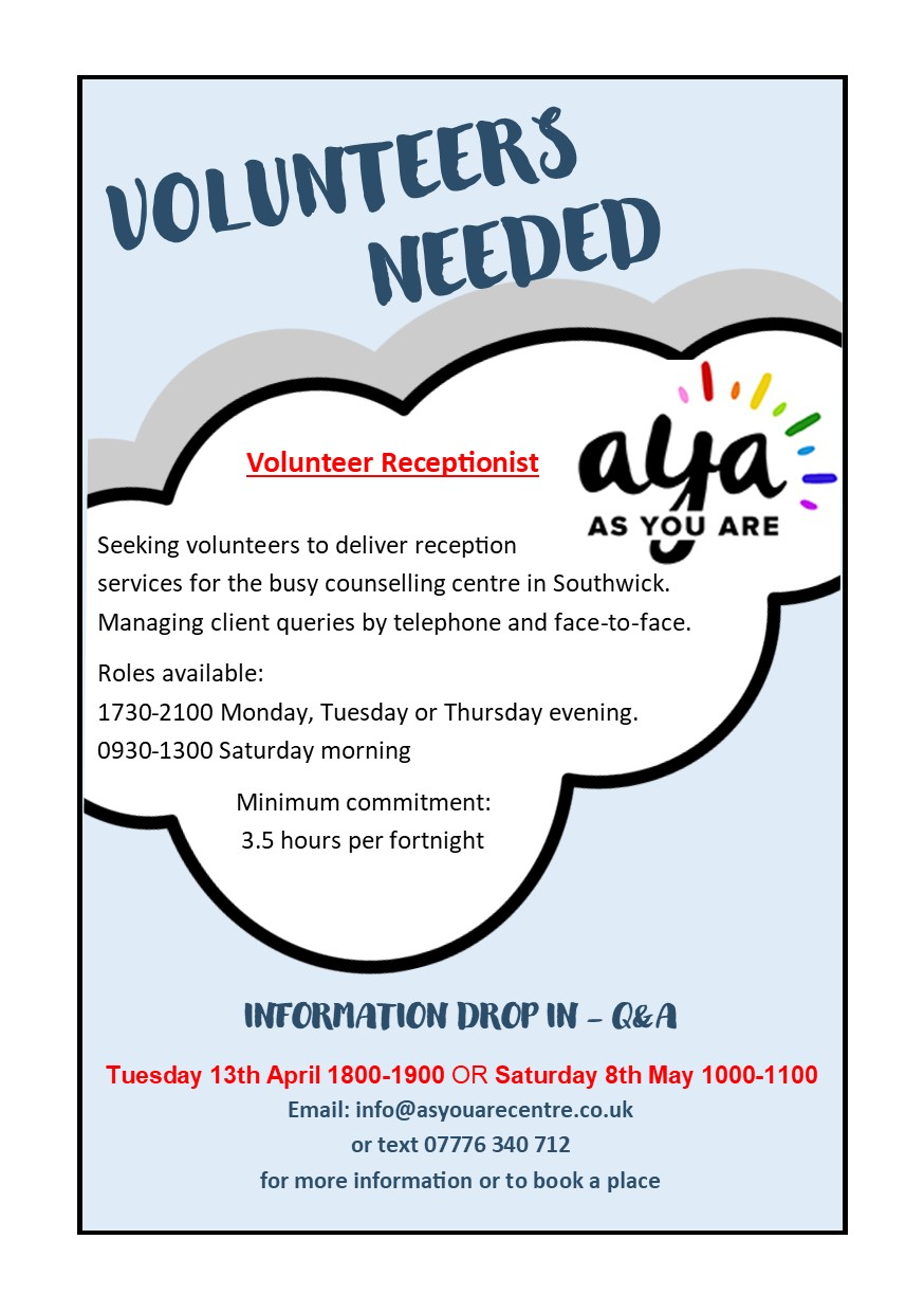 Volunteer Drop In Poster - Reception